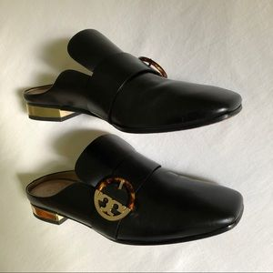 Tory Burch Loafers Backless Leather Mules 8.5